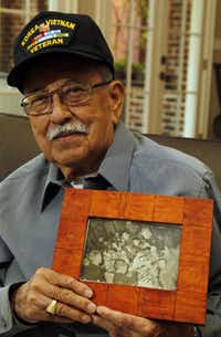 Juan Sanchez, a veteran of two wars,  won a trip to the ceremony at the Korean War Memorial.