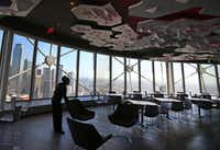 "The Cloud Nine lounge features a ""Big Sky"" canopy as well as stunning views of downtown Dallas and, on clear days, Fort Worth."
