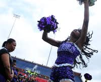 Lincoln High majorette Raven Carrington was among students who performed for the thousands of students attending the Imagine 2020 event at SMU.