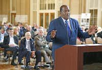State Sen. Royce West spoke Wednesday against replacing Interstate 345 on the eastern edge of downtown Dallas with a street-level boulevard.Nathan Hunsinger  -  Staff Photographer