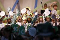 Lower school students (pre-k through 4th graders) sing altogether during Hockaday's Centennial kickoff parade & concert at The Hockaday School Sept. 28.