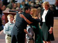 Paul Ryan is greeted by his wife, Janna, and the rest of his family, including mother Betty Douglas, on stage at the Republican National Convention in Tampa, Fla., on Wednesday.