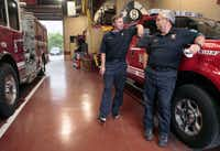 Capt. Ronnie Janek and Driver-Engineer Ike Griffith, pictured at Fire Station 8 in Dallas, were close friends of Capt. Kenny Luckey Harris and served as pallbearers at his funeral.