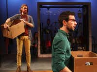 In Hunting and Gathering, Garret Storms (left) plays a free-spirited couch-surfer while Sam Swanson portrays a divorced college professor. The play is a co-production of Theatre TCU and Amphibian Stage Productions.Kelley Chinn - Special Contributor