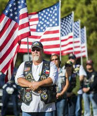 Patriot Riders stand guard during funeral services for retired Army Air Corps 1st Lieutenant Calvin Spann on Saturday, September 12, 2015 at Covenant Church in Carrollton, Texas.  Spann was an original Tuskegee Airman and fighter pilot with the 100th Fighter Squadron of the 332nd Fighter Group.  He served during World War II, when he flew 26 combat missions. (Ashley Landis/The Dallas Morning News)(Ashley Landis - Staff Photographer)