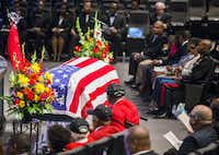 An American flag is draped over the casket of retired Army Air Corps 1st Lieutenant Calvin Spann during funeral services on Saturday, September 12, 2015 at Covenant Church in Carrollton, Texas.  Spann was an original Tuskegee Airman and fighter pilot with the 100th Fighter Squadron of the 332nd Fighter Group.  He served during World War II, when he flew 26 combat missions. (Ashley Landis/The Dallas Morning News)(Ashley Landis - Staff Photographer)