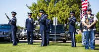 A nine-gun salute is performed by a military honor guard during funeral services for retired Army Air Corps 1st Lieutenant Calvin Spann on Saturday, September 12, 2015 at Covenant Church in Carrollton, Texas.  Spann was an original Tuskegee Airman and fighter pilot with the 100th Fighter Squadron of the 332nd Fighter Group.  He served during World War II, when he flew 26 combat missions. (Ashley Landis/The Dallas Morning News)(Ashley Landis - Staff Photographer)