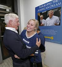 U.S. Rep. Pete Sessions,  R-Dallas, greeted supporter Emily Ford on Tuesday at campaign headquarters in Dallas.(Jae S. Lee - Staff Photographer)