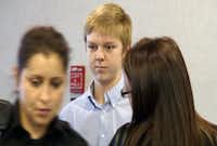"""Ethan Couch arrives for a December 2013 hearing in Fort Worth. A judge, citing """"affluenza,"""" sentenced Couch to probation in a July 2013 drunken driving crash that killed four people.(2013 File Photo - TV via AP)"""
