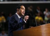 Julian Castro, Mayor of San Antonio addresses the crowd during the 2012 Democratic National Convention at the Time Warner Cable Arena in Charlotte, Tuesday, September 4, 2012. (Tom Fox/The Dallas Morning News) 09082012xALDIA