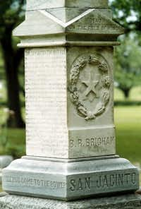 Memorial to one of the Texian soldier's killed in the Battle of San Jacinto. Marker is the area of the Texian camps.