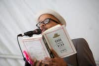 Author and musician James McBride reads from his new book The Good Lord Bird, nominated for a National Book Award, at the music tent during the Texas Book Festival in downtown Austin on October 26, 2013. McBride performed gospel and funk with the Good Lord Bird Band.