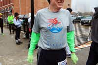 Ken Ashby, 61, sported  his 2013 MetroPCS Dallas Marathon shirt before running a different version of the route after the Dallas race was canceled.