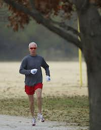 """Gregory """"Spareribs"""" LaMothe runs at Andy Brown West Park in Coppell."""