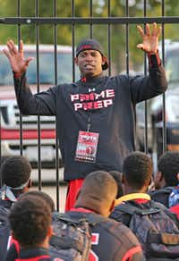 Prime Prep co-founder and coach Deion Sanders gave a pep talk to students before a football game in October.