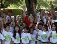 Peggy Nelson, widow of golfing great Byron Nelson, visited with students from J. Erik Jonsson Community School before opening the tournament.