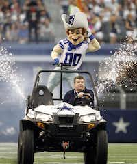 Dallas Cowboys mascot Rowdy will sign autographs before the game against the Denver Broncos Aug. 28, in the Kid Zone, where young ones will find a climbing wall, trampolines, a mechanical bull and more.Vernon Bryant  -  Staff Photographer