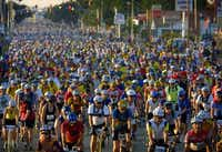 Downtown Wichita Falls is a sea of bike helmets when the Hotter'N Hell Hundred gets under way.