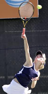 Elizabeth Porter of Highland Park serves against a doubles pairing from San Antonio Alamo Heights during the girls final. She and partner Margo Taylor won 6-4, 6-0.( Photo by THAO NGUYEN  -  DMN special contributor )