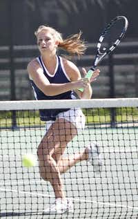 Highland Park's Margo Taylor hits a return during the girls doubles final. The junior has won three team state titles and three individual titles.Photo by THAO NGUYEN  -  DMN special contributor