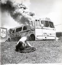 A Greyhound bus that had carried Freedom Riders, was set afire by Ku Klux Klan members outside Anniston, Ala., on May 14, 1961.