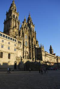 The beautiful cathedral at Santiago de Compostela is where the tomb of St. James is located.