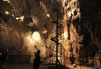 Brave tourists can go rappelling, caving, ziplining and climbing inside Moaning Caverns near Angels Camp.
