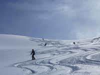 Led by two specially-trained CMH guides, novice deep powder wilderness skiers learn to carve graceful s-turns down long glacier runs.
