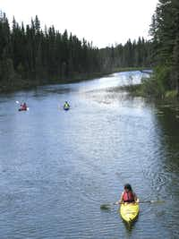Kayakers explore the calm waters of the Wakesiu River within Prince Albert National Park. Beaver, deer and white pelicans are frequently seen here.