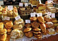 Tempting cakes and pastries at Old Spitalfields Market.