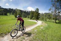 "Bicyclists roll down an intermediate trail at Jackson Hole Bike Park in Wyoming. ""If you keep rolling, braking and pedaling as little as possible, you can really feel the flow of the trail,"" an instructor says."