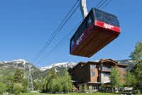 Visitors to Jackson Hole Mountain Resort, Teton Village, Wyo., can take an aerial tram to the top of Rendezvous Peak.