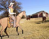 One-dimensional cowboys and longhorns add color to a small park on U.S. Highway 81 in Bowie. A historical marker nearby maps the Chisholm Trail from Texas to Kansas.