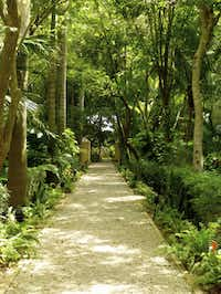 Pathways lead to surprises in the lush gardens at Hacienda Xcanatún.