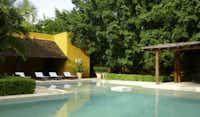 The shady pool at Hacienda Misné.