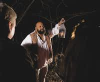 An actor portrays Jack Hunter, a fugitive slave encountered by participants in the Follow the North Star program.