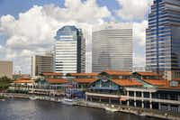River vessels of many types tie up at the Jacksonville Landing on Florida's St. Johns River.