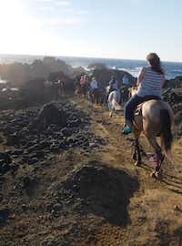 The trip to the Natural Pool is a half-hour journey by horseback.