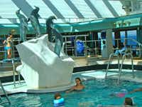 The Lido Pool, protected from the elements, is just a few steps away from the Lido Bar with its Alaskan brews.