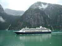 Sighted from the Oosterdam, the Amsterdam, a Holland America Line flagship, heads out of Tracy Arm for Juneau.
