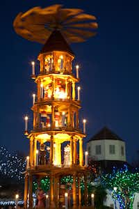 A 26-foot-tall wooden pyramid is erected in Fredericksburg's main square each holiday season.