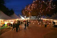Shoppers at Fredericksburg's Christmas market, held annually in the town square.