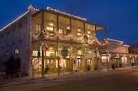 Holiday decorations are festive and rustic -- and often light up at nighta in Fredericksburg.