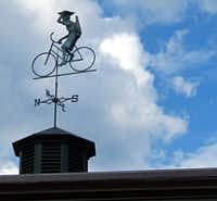 Bike weathervane atop Copper Pine Cafe at Point Lookout Resort in Northport, Maine