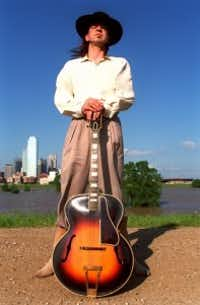 Stevie Ray Vaughan along the Trinity River near downtown Dallas (William Snyder/Staff photo)