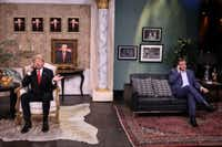 Sen. Ted Cruz tapes a sketch with Tonight Show host Jimmy Fallon playing Donald Trump for the show that aired April 14. (Andrew Lipovsky/NBC)