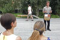 "Will Barnet, an actor and street performer, recites lines from ""Macbeth"" at High Line park in New York, Aug. 23, 2013. Barnet began delivering Shakespearean monologues that he had learned in college at New York City parks, but what began as a lark has led to opportunities including a modeling job, performances at holiday parties and jobs coaching teenage actors."