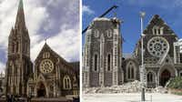 This file combination of two pictures shows Christchurch Cathedral in November, 1995 (L) and on February 24, 2011, two days after a deadly earthquake killed at least 146 people. Not only did up to 22 people die under debris falling from the 19th century structure, but its famous spire toppled spectacularly, symbolising the city's ruin.