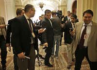 Republican Sen.-elect Ted Cruz of Texas maneuvered around the media Tuesday as he arrived for a freshman senators luncheon on Capitol Hill.