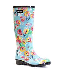 """New floral rain boots designed by Sadie Robertson of A&E channel's """"Duck Dynasty"""" tv show. Manufactured by Dallas-based Roma Boots. The boots are available for pre-order now at romaboots.com and will be shipped in October.(Photos by Roma Boots)"""